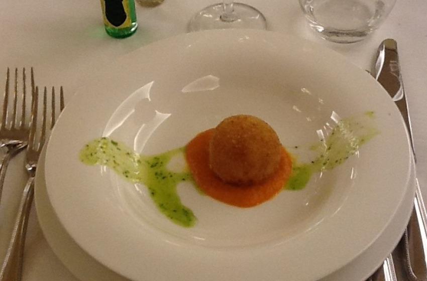 Mozzarella e Baccalà con Spuma di Pomodoro
