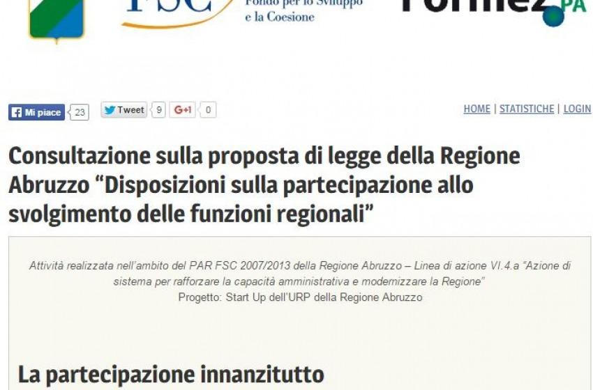 """Regione Abruzzo """"vara"""" la piattaforma online per """"fare"""" le leggi regionali"""