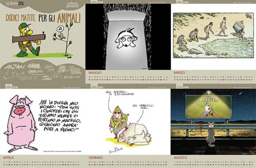 Da Charlie Hebdo ad Altan, il calendario 2016 di Animal Amnesty