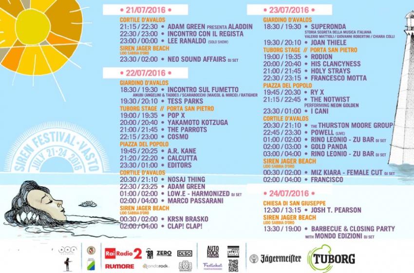 Tutto pronto per Siren Festival 2016. Line Up, orari definitivi e location