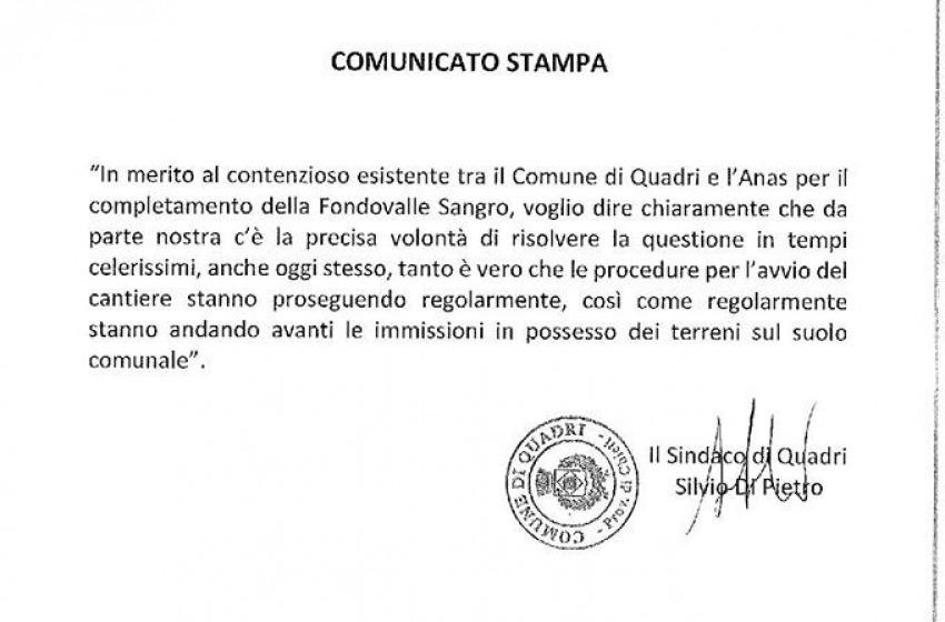 Fondovalle Sangro: mega commessa da 190milioni firmata entro il 15 gennaio
