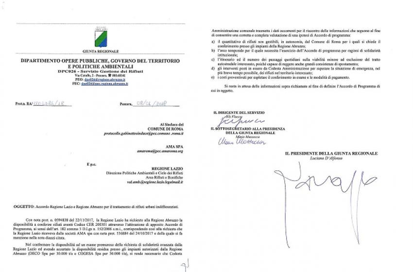 """Caso rifiuti, D'Alfonso scrive alla Raggi: """"Vogliamo aiutare per risolvere l'emergenza"""""""