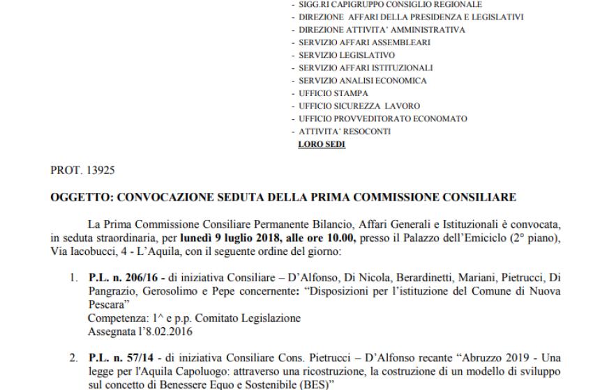 """In Commissione Bilancio la proposta di legge sulla """"New Pescara"""""""