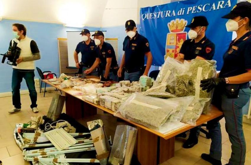 Sequestrati 51 kg di stupefacenti a Pescara, in manette due fratelli