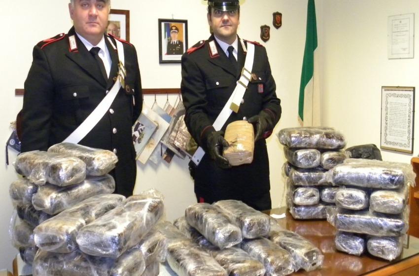 Corrieri della droga filmati durante lo scambio. Sequestrati 50 Kg di marijuana