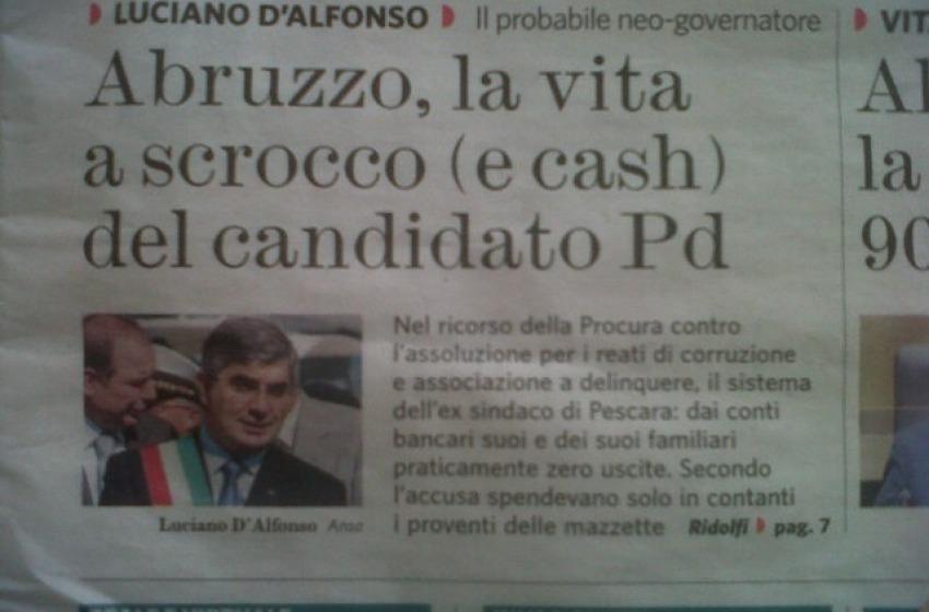 """Dopo Chiodi tocca a D'Alfonso finire sulla """"prima"""" del Fatto Quotidiano"""