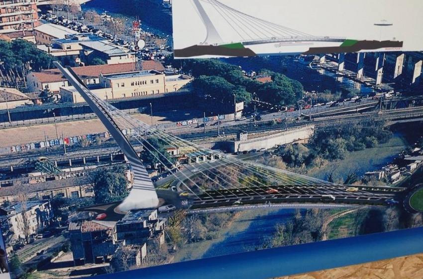 Mascia posa la prima pietra del Ponte Nuovo sul fiume Pescara